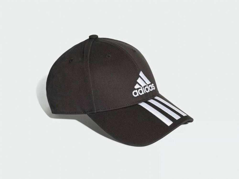 adidas Six Panel Classic 3-Stripes Men's Running Training Cap Hat Black/White